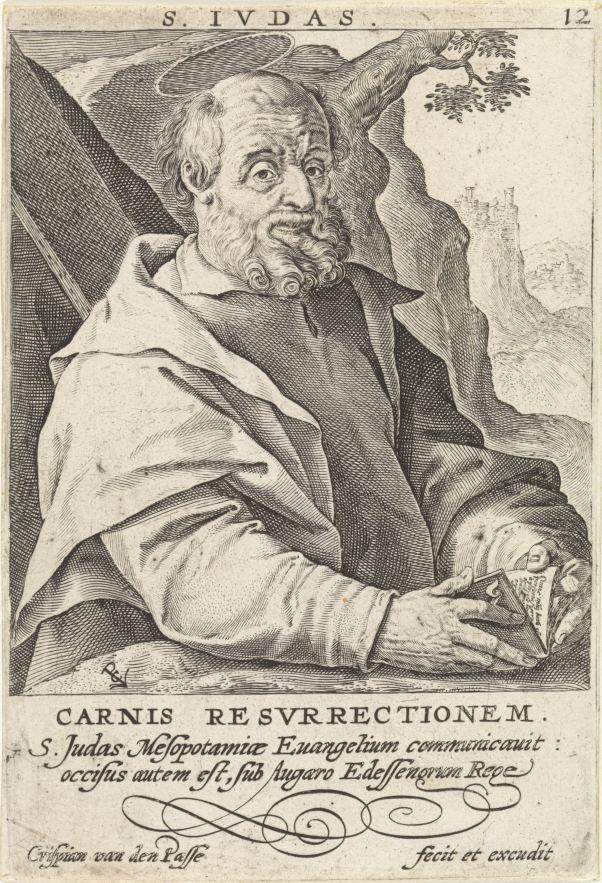 C. van de Passe I (1564-1637)) Judas Thaddeüs RP-P-1907-3832- Amsterdam, Rijksmuseum