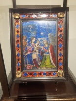 Holy family and Saints, oil on lapislazzuli