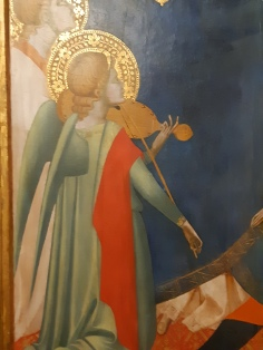 Maestro Francesco (ambito di Andrea Orcagna)(Firenze, 1363 ca.) St. Paul enthroned and other saints, Venice, Galleria Cini