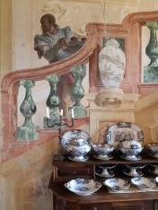 Giovanni Domenico Tiepolo (1727-1804) and Girolamo Mengozzi Colonna (1688-1774), Painted staircase, Room with Carnival Scenes, Foresteria, Vicenza, Villa Valmarana ai nani