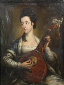 Portrait of a lady, said to be Signora Majendie, three-quarter-length, playing an English guitar; Bonhams, 29.10.2014, lot 256