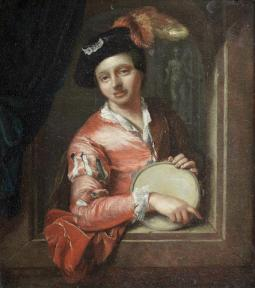 A young boy holding a tambourine, at an arched window; Bonhams, 10.04.2013, lot 61
